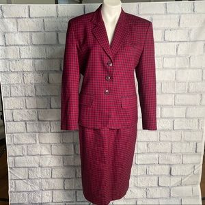 Miss Pendleton Vintage red and blue 2 piece Suit